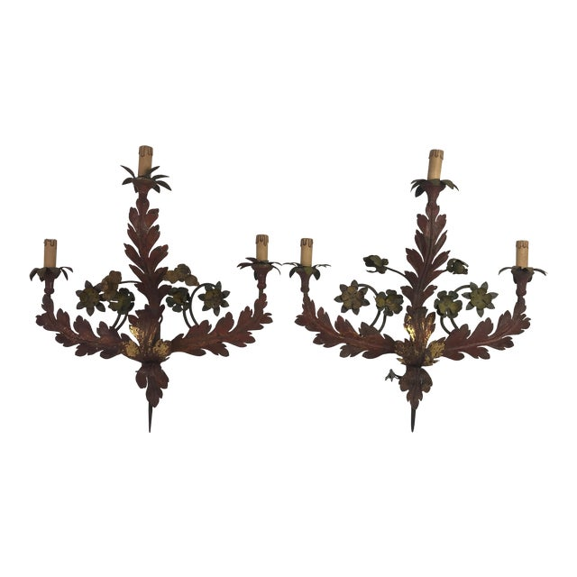 19th c. Italian Painted Tole Sconces - a Pair For Sale