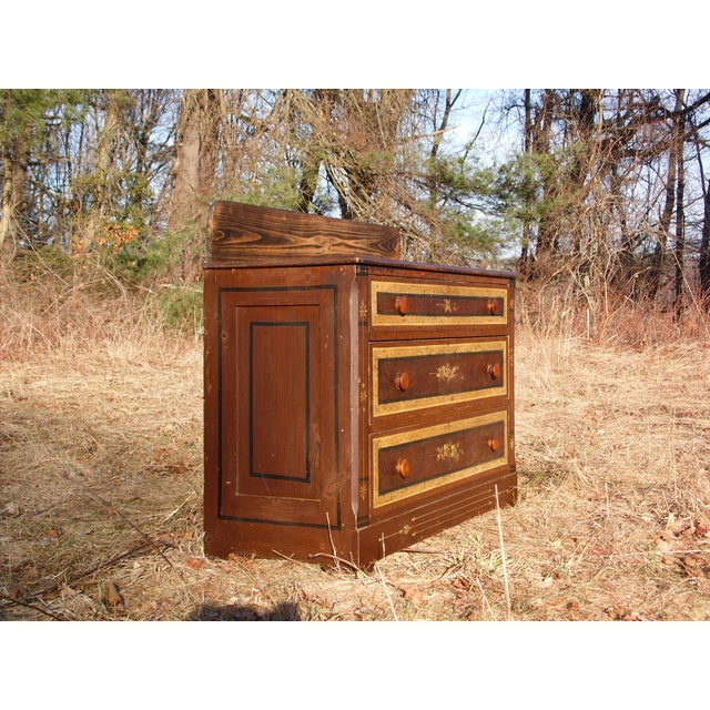 Antique Victorian Country Cottage Hand Painted Chest of Drawers Dresser Commode For Sale In Providence - Image 6 of 11
