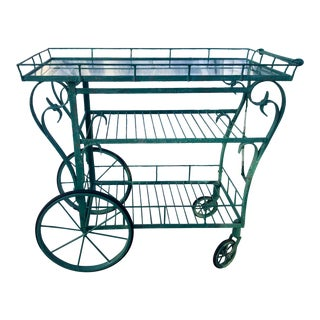 1960s Mid Century Wrought Iron Bar Cart For Sale