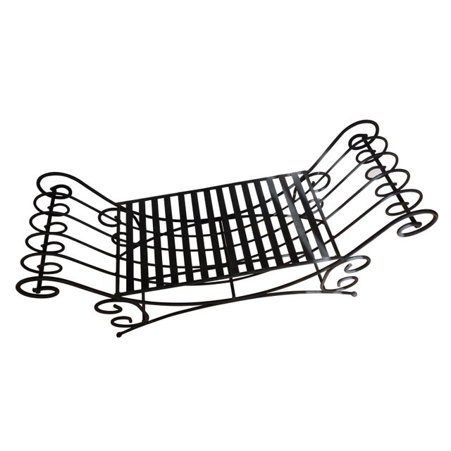 Mid 20th Century Vintage Mediterranean Style Spanish Style Wrought Iron Two Seat Black Bench Seat For Sale - Image 5 of 5