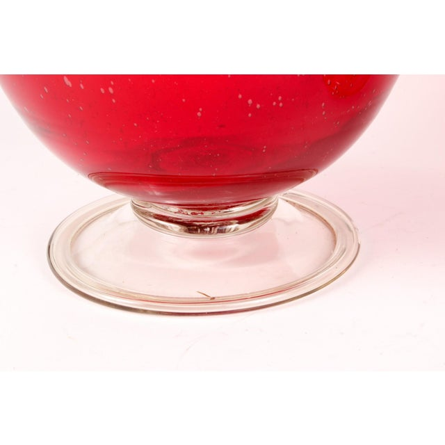 1960s Cranberry Red Hurricane Vases- a Pair For Sale - Image 5 of 9
