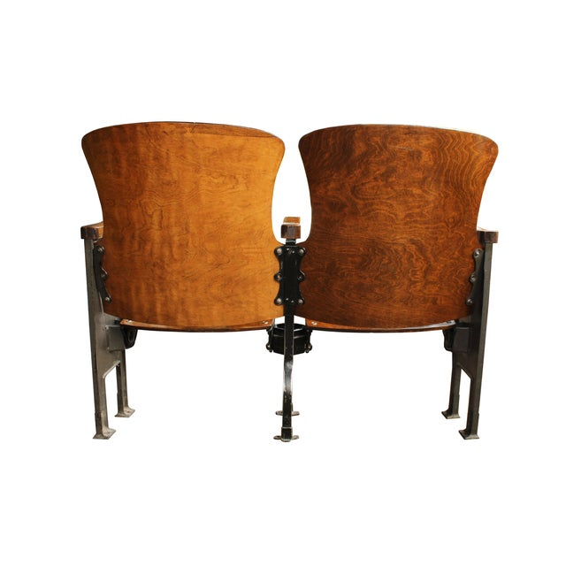 Salvaged Folding Wood Theater Chairs - Pair - Image 5 of 5