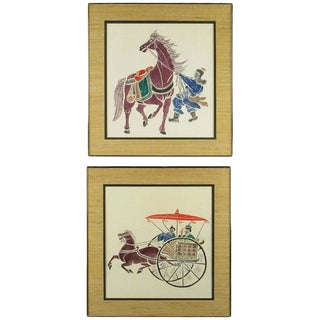 Pair Colorful Chinese Woodblock Prints For Sale