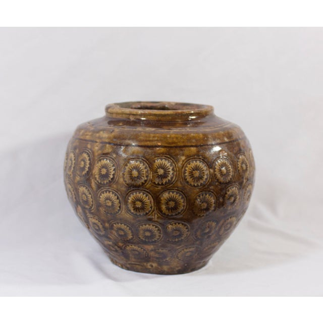 Ceramic Antique 19th Century Thai Pottery Stamped Floral Motif Vessel With Earthen Brown/Green Glaze For Sale - Image 7 of 7