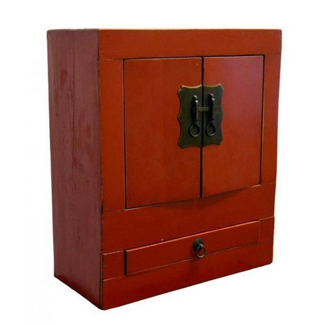 Mid 20th Century Ancient Chinese Red Lacquered Square Cabinet with Brass Hardware from the 1900s For Sale - Image 5 of 8