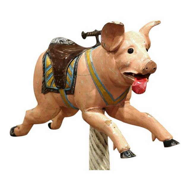 19th Century French Carved Painted Carousel Pig For Sale - Image 4 of 11
