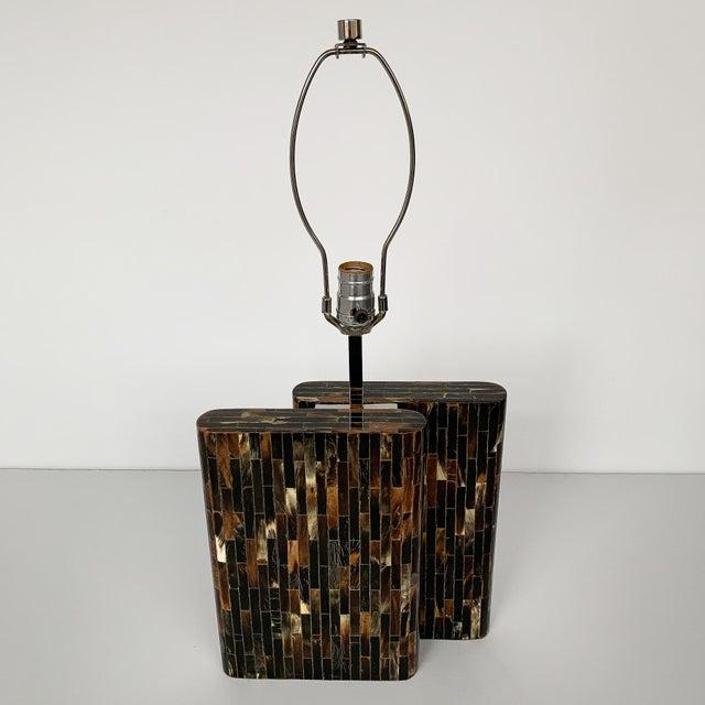 Brutalist Enrique Garcel Tessellated Horn Table Lamp For Sale - Image 3 of 13