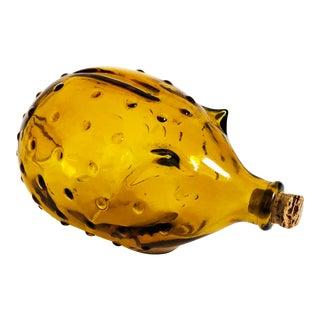 Vintage Amber Glass Pig Bottle For Sale