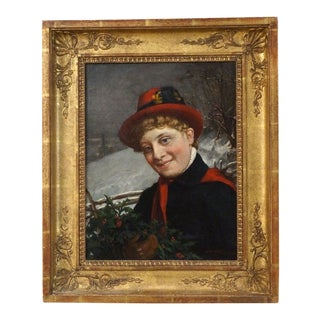 """19th Century """"Enjoying Winter"""" by Charles v. Brown Oil on Canvas For Sale"""