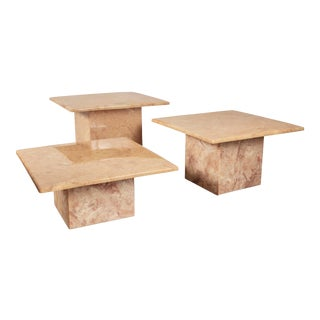 Trio of Pink Resin Marbleized Coffee Tables For Sale
