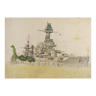 1940's Battleship Drawing For Sale
