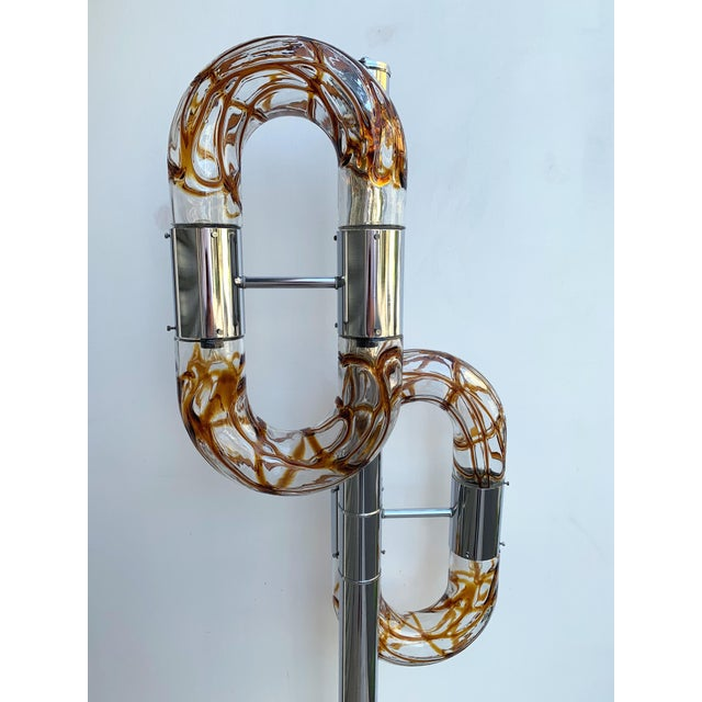 Chrome Floor Lamp Metal Chrome Murano Glass by Aldo Nason for Mazzega, Italy, 1970s For Sale - Image 7 of 13