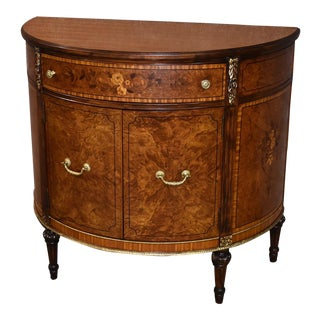 1940s French Inlaid Satinwood French Style Demi Lune Cabinet For Sale