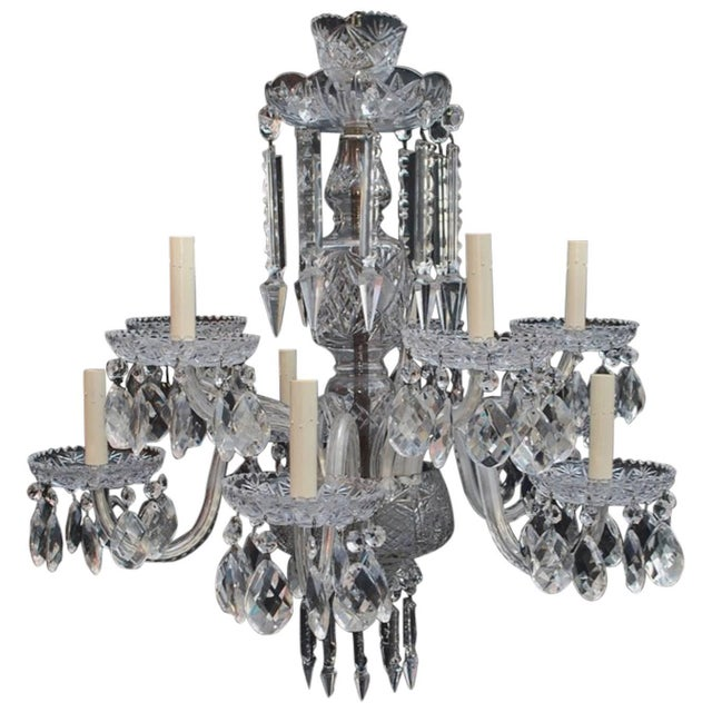 Art Deco Crystal Chandelier For Sale In Los Angeles - Image 6 of 6