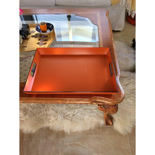 Hermès Mid Century Modern Orange and Espresso Bar Tray For Sale - Image 4 of 13