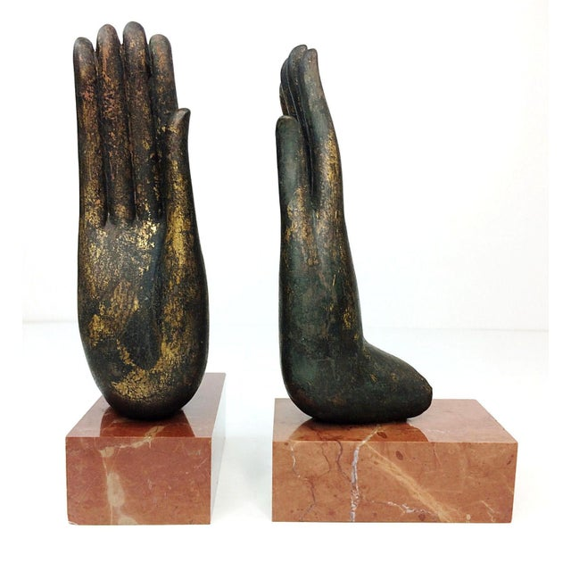 Mottahedeh Italian Bronze Hand & Marble Bookends-A Pair - Image 8 of 8