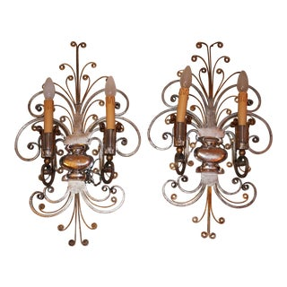 French Art Deco Scrolled Gilt/Silver Steel Maison Bagues Sconces - a Pair For Sale