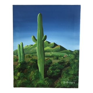 1990s Cactus Painting For Sale