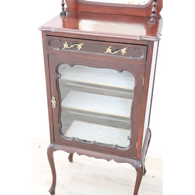 Gold 19th Century English Mahogany Carved Antique Vitrine or Display Cabinet For Sale - Image 8 of 11