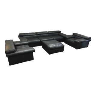 "Mid-Century Modern Afra & Tobia Scarpa for B&b Italia Model ""Erasmo"" Leather Sofa Chairs & Ottoman - For Sale"