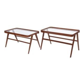 Companion Pair of Italian Modern Walnut & Glass Tables Attributed Carlo de Carli For Sale
