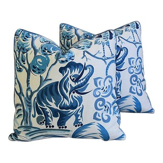 """Blue & White Clarence House Fabric Feather/Down Pillows 21"""" Square - Pair"""