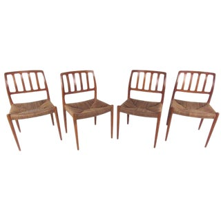 N.O. Møller Teak and Rush Seat Dining Chairs - Set of 4 For Sale