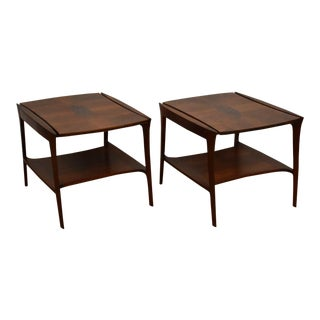 John Stuart Walnut Burl End Tables- a Pair For Sale