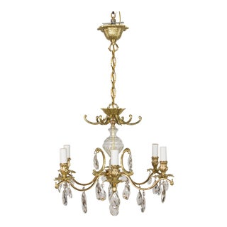Swedish Brass & Crystal Chandelier For Sale