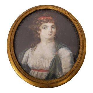 Mid 19th Century Miniature Portrait of a Young Woman For Sale