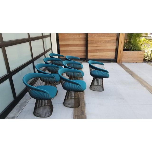 Hollywood Regency Vintage Mid Century Warren Platner Teal Dining Chairs- Set of 8 For Sale - Image 3 of 12