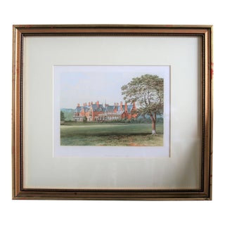 "1880 English Traditional Estate Print, ""Hutton Hall"" For Sale"