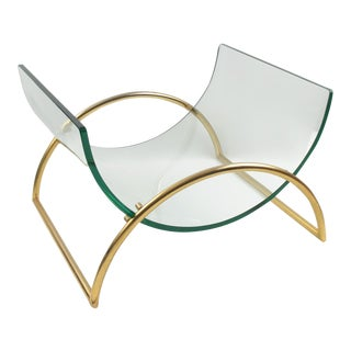 Gallotti and Radice Italy 1970s Gilt Aluminum and Glass Magazine Rack Holder For Sale