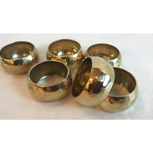 Mid 20th Century Vintage Brass Hammered Napkin Rings - Set of 6 For Sale - Image 5 of 8