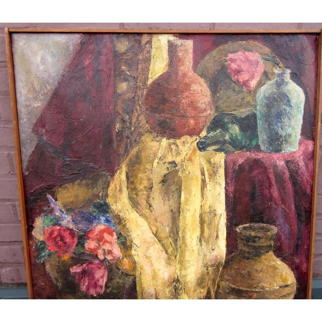 This is a warm and sumptuous 1960s era oil on canvas traditional still life with tons of organic movement and luscious...