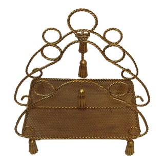 Rope & Tassel Magazine Rack For Sale