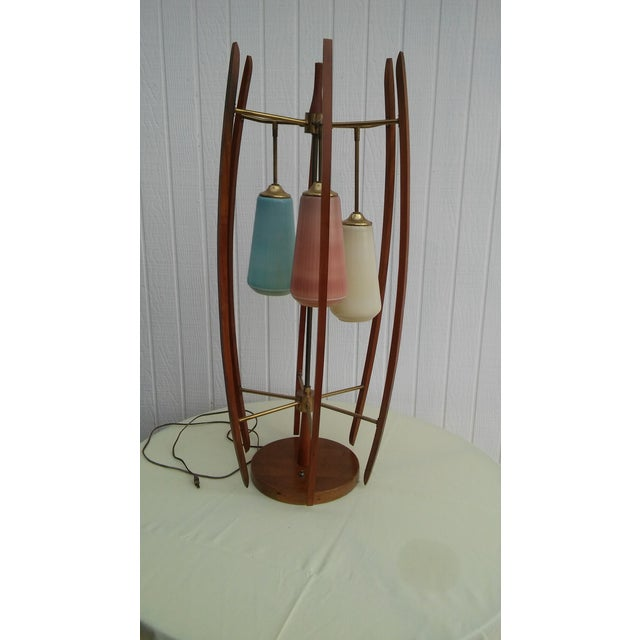 Mid 20th Century Mid-Cenury Modern Eames Era Teak Wood/Brass Large Table Lamp For Sale - Image 5 of 5