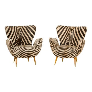 Upholstered Armchairs With Zebra Print Leather Wingback Chairs by Paolo Buffa Circa 1950 - a Pair For Sale