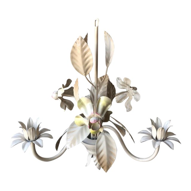 Vintage Italian Tole Chandelier - Yellow and Pink Flowers For Sale