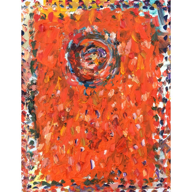 Abstract 'Orange Gong' Oil Painting by Sean Kratzert For Sale
