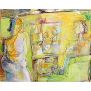 """""""Artist and Model"""" by Trixie Pitts XL Abstract Expressionist Oil Painting For Sale"""