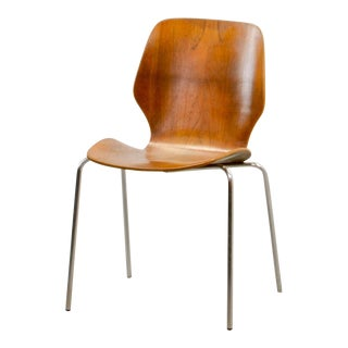 Mid-Century Scandinavian Design Minimalistic Plywood Side Chair, 1950s For Sale