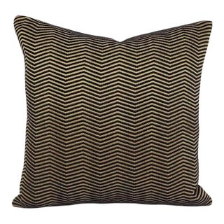 """Schumacher Pallazo Chenille in Onyx Pillow Cover - 20"""" X 20"""" Gold and Black Chevron Accent Pillow Cover For Sale"""