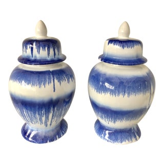 Blue & White Stroke Ginger Jars For Sale