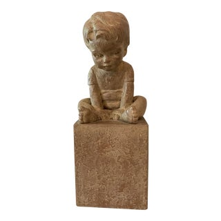 Studio Pottery of a Sitting Child Sculpture, Vintage For Sale