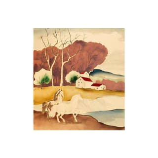 Horses by a River, 1940s For Sale