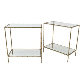 1950s Vintage French Faux Bamboo Brass Side Tables - a Pair