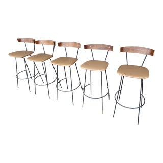 Mid-Century Iron Barstools- Set of 5 For Sale