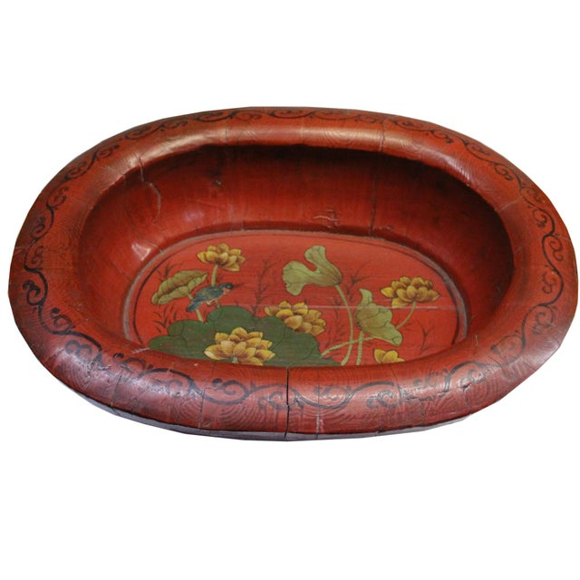 Red Chinese Vintage Distressed Red Flower Oval Shape Wood Bucket For Sale - Image 8 of 9