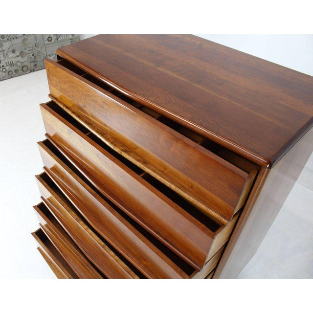 Six Drawers Solid Cherry Mid-Century Modern Design High Chest For Sale - Image 11 of 13